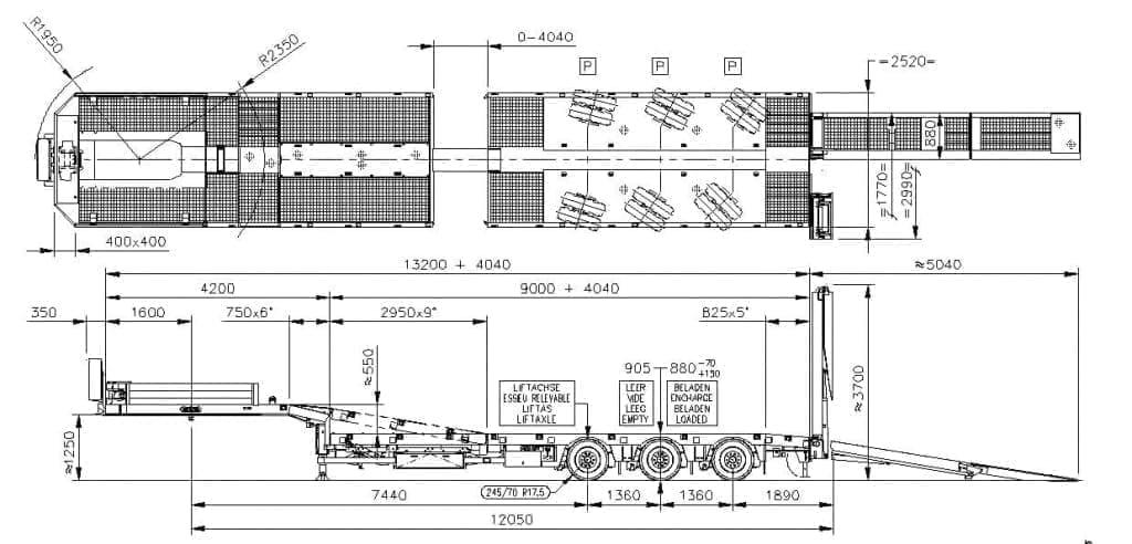 Tekening uitschuifbare hoogwerker semidieplader - Nooteboom MCOS-48-03V